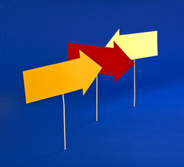 Colored paper Arrows indicating the different directions