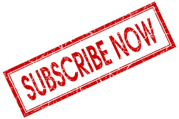 Subscribe now red square grungy stamp