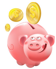 Full Piggy bank. Illustration in vector format