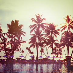 Tropical beach. Vintage instagram effect.