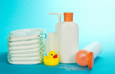 Cosmetics on care of the child and diapers