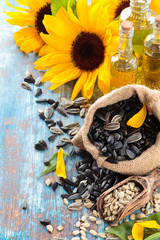 Sunflowers and seeds