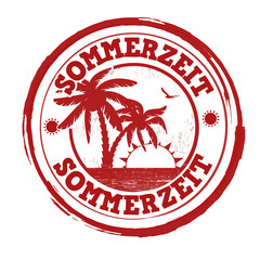 Summertime in german language stamp