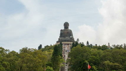 Time Lapse of People Climbing Steps at Tian Tan Buddha 1080p