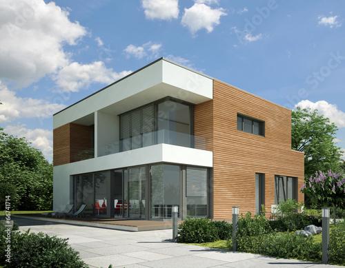 Leinwanddruck Bild Haus Kubus Holz
