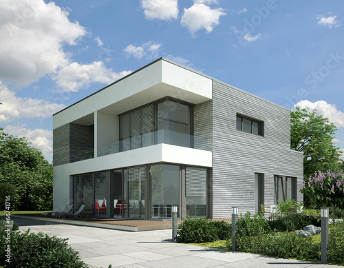 Gamesageddon haus kubus holz grau lizenzfreie fotos for Moderner baustil einfamilienhaus