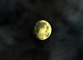 yellow moon on a space stars backgrounds