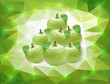 Green apples on triangle background