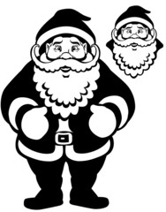 cartoon santa claus black white