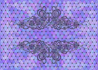 Mosaic background with floral ornament