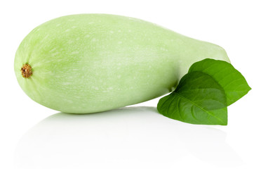 Vegetable marrow with green leaves isolated on white background