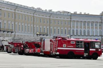 Russian retro fire trucks