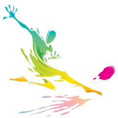 Paint splashing - Soccer player kicking the ball
