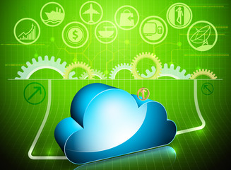 Blue cloud processing in progress technology background
