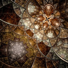 Colorful fractal flower pattern, brown digital artwork