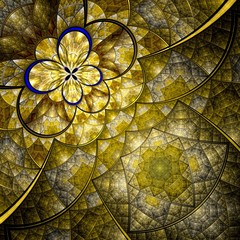 Colorful fractal flower pattern, yellow digital artwork