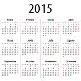 Spanish Calendar for 2015. Mondays first