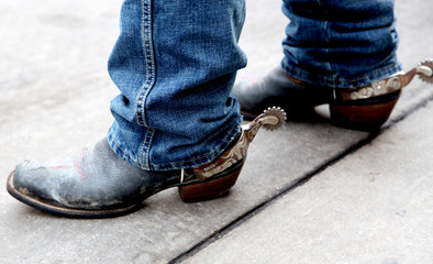 Cowboy Boots with Silver Rusted Spurs