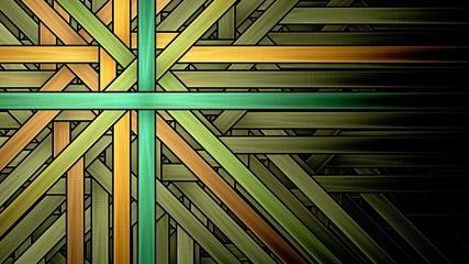 Symmetrical fractal, green light, diagonal digital line