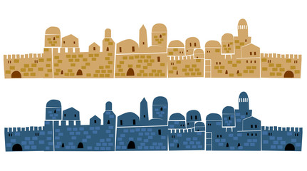 Ancient, Old Town, Middle East, Illustration