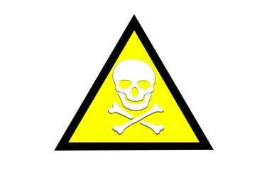 Abstract Beware toxic warning sticker with Skull and Crossbones