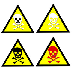 colored skull and crossbones symbol  on triangle  yellow sign.