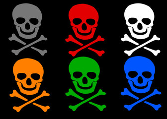 colored skull and crossbones symbol frame on white background.