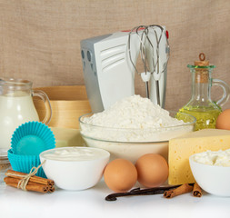 Set of products for baking, mixer and cake pan