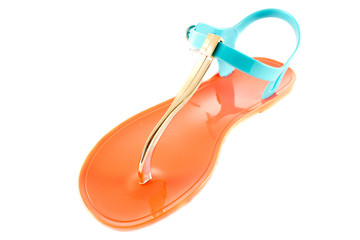 Pink summer sandal on a white background