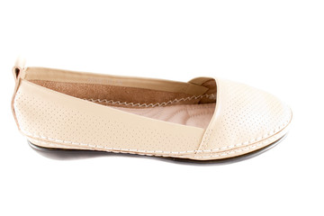 White female loafer over white