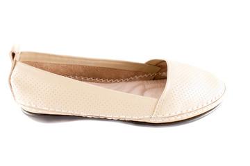 White female loafer over white