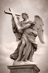 Angel in Rome. Sepia tone image.