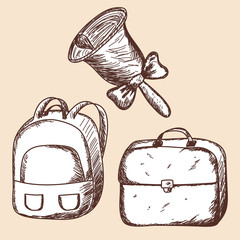 School bags and bell sketch.