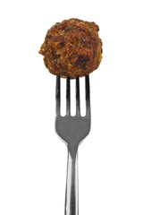 Meatball on a fork isolated over white
