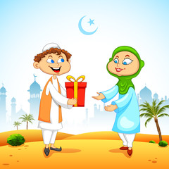 People presenting gift to celebrate Eid