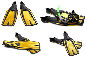 Set of yellow swim fins, mask and snorkel for diving