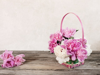 flowers in basket