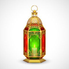 Illuminated lamp on Eid Mubarak (Happy Eid) background