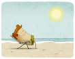 man on deck chair at the beach