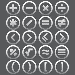 Vector of transparent icon, mathematical symbols set