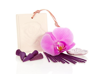 Incense set and orchid flower
