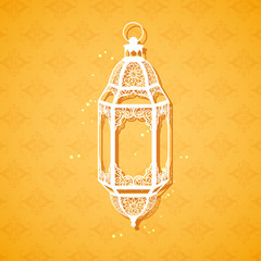 Ramadan Kareem (Generous Ramadan) greeting with illuminated lamp
