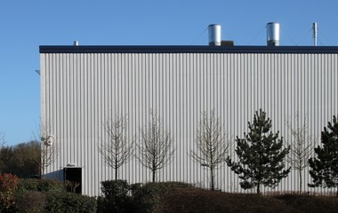 Side of modern industrial unit