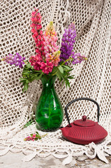 still life bouquet with lupinus