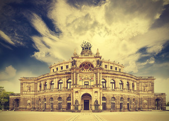 Dresden opera theater, Germany, retro vintage effect.