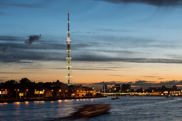 St. Petersburg. City TV tower. Night view.