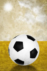 Soccer with field and sky background