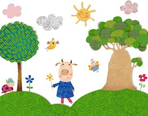 The cow. Illustration for children