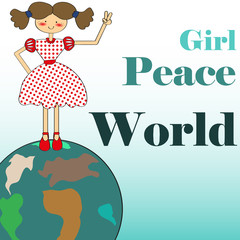 Girl peace world