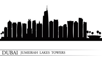 Dubai Jumeirah Lakes Towers skyline silhouette background